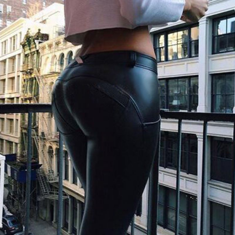 Women Wet Look Leggings PU Leather Black Slim Pants Women Skinny Long Legging