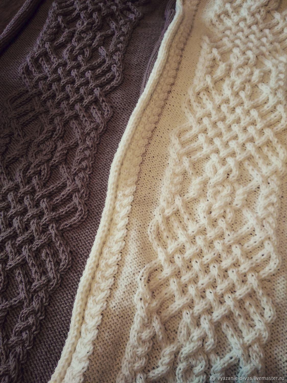 Плед вязаный большой ручная работа покрывало/одеяло ...
