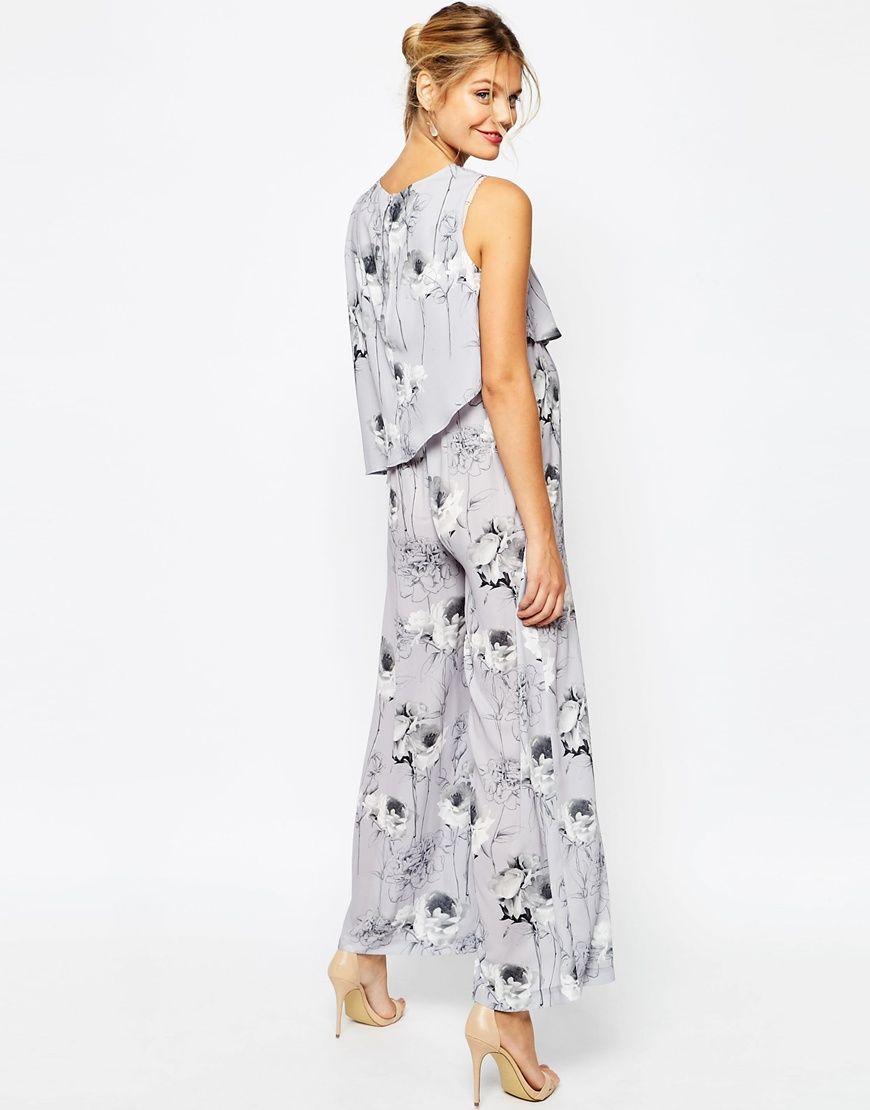 cc9044ea731 Image 2 of ASOS Maternity SALON Jumpsuit In Mono Floral Print