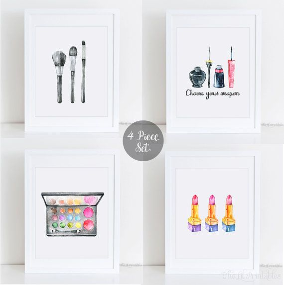 4 Piece Makeup Set Printable, Makeup Wall Art, Teen Wall Printable, Makeup  Print, Wall Art Printable, Girly Printable, Teen Wall Art