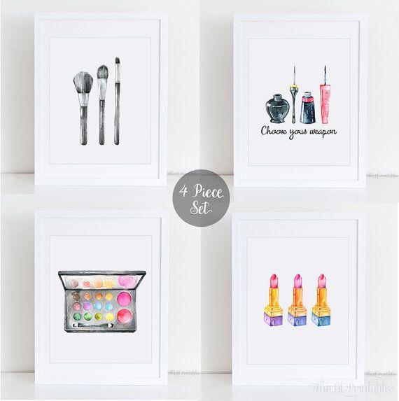 4 Piece Makeup Set Printable, Makeup Wall Art, Teen Wall Printable, Makeupu2026 Part 54