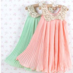 Summer Girls Pleated Chiffon One-Piece Dress Paillette Collar Children Colthes