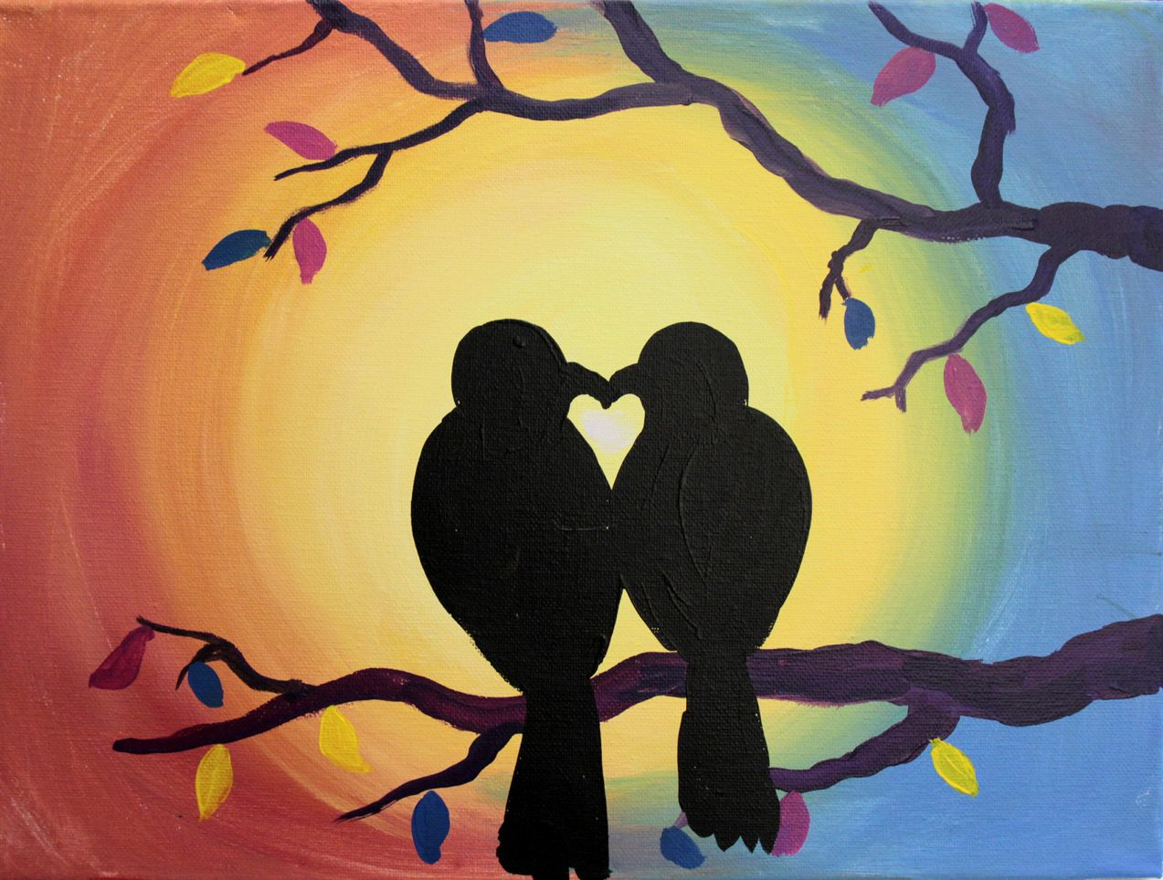 Kid Paintings Purple Easel Love Birds Painting Painting Simple Canvas Paintings