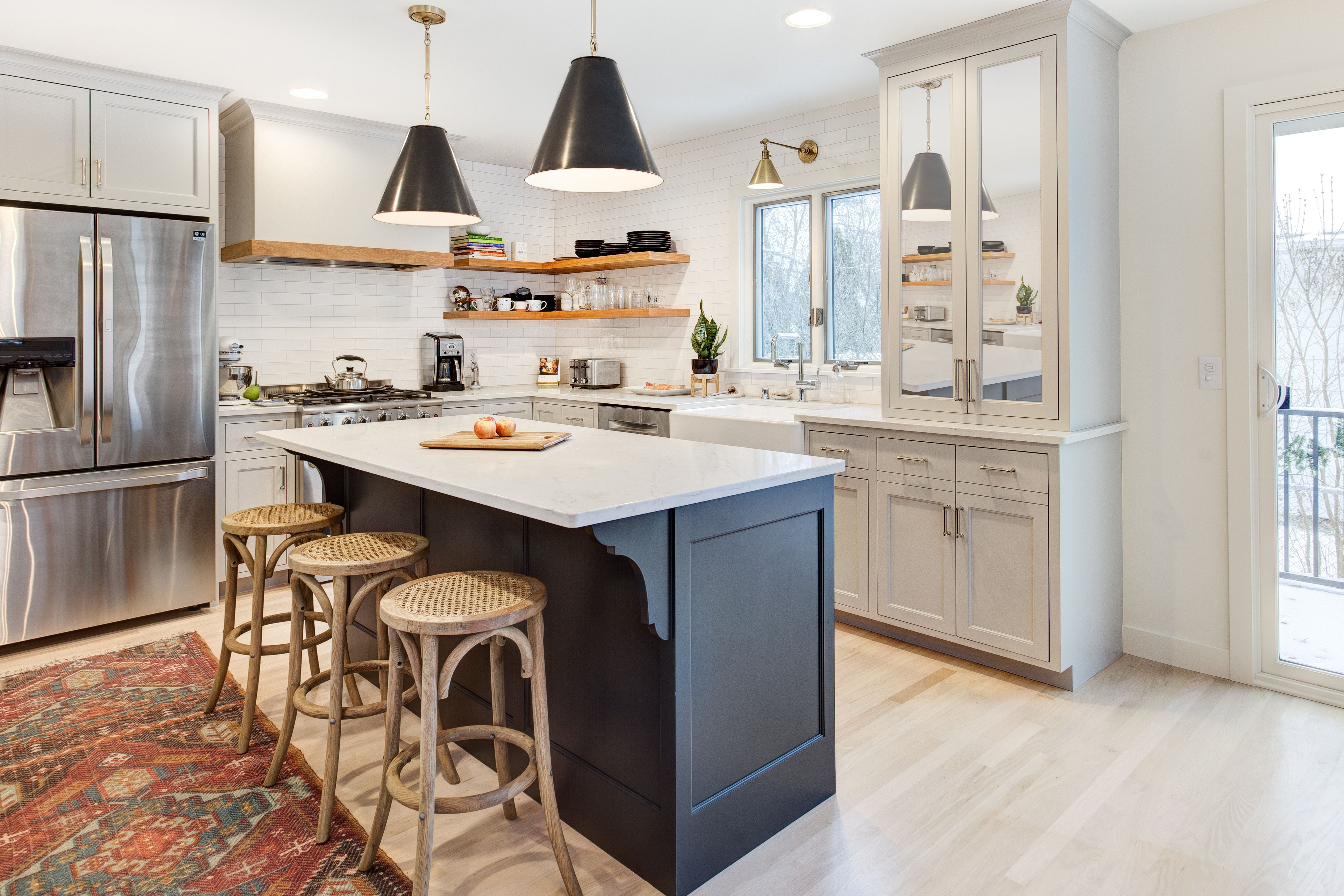 Remodeled Mid Century Rambler Kitchen Remodel With Contrasting Island And Open Shelving Diy Kitchen Renovation Kitchen Redesign Fresh Kitchen