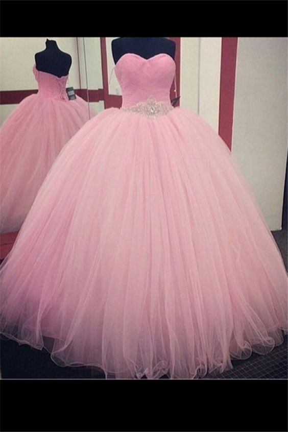 24cf41a37dc Pink Sweetheart Lace Ball Gown Long Tulle Quinceanera Dress Prom ...