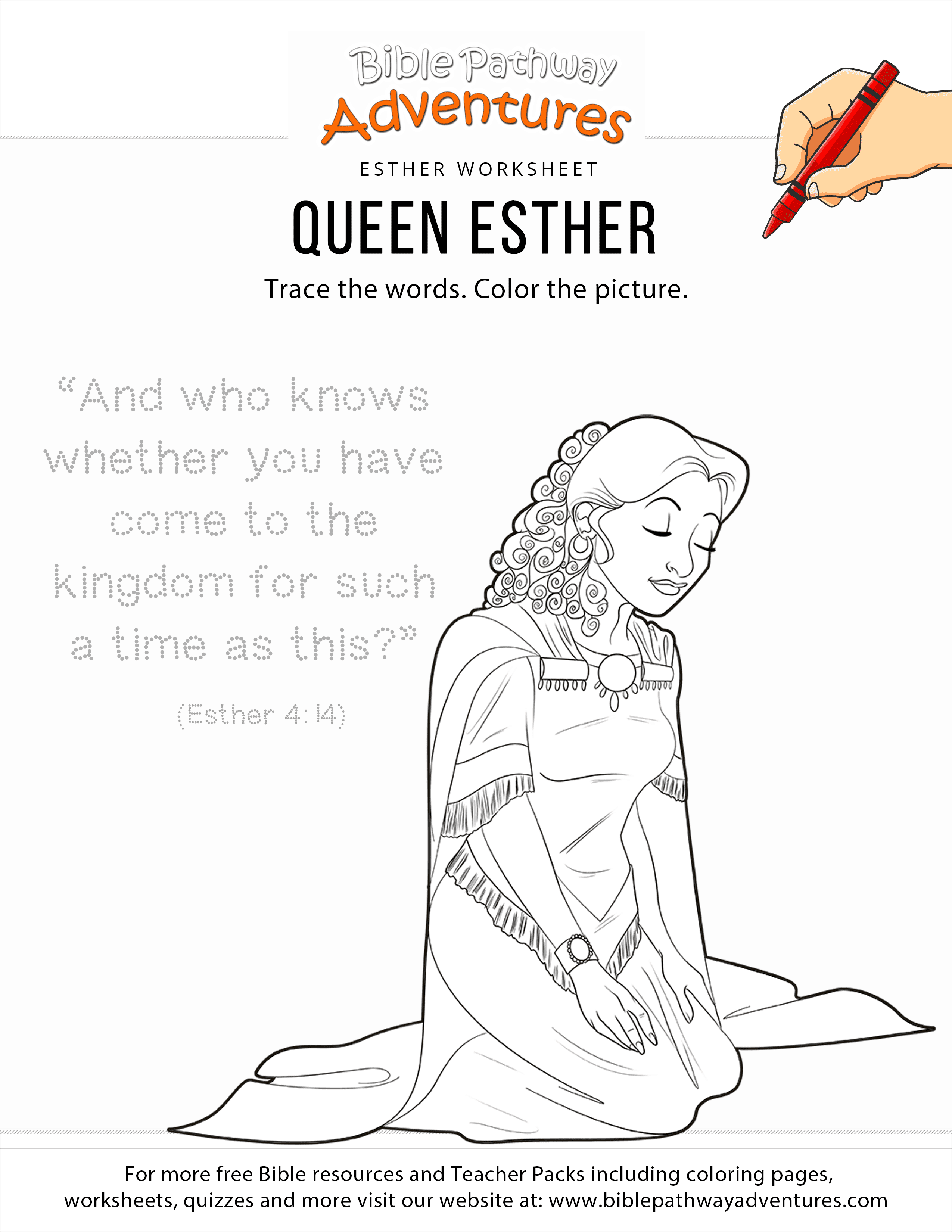 Queen Esther Copywork And Coloring Page Bible Activities For Kids Bible Lessons For Kids Esther Bible