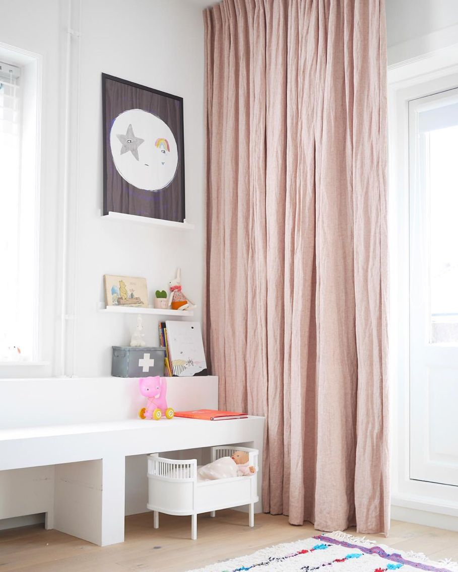 linen curtains pink salt by mlle
