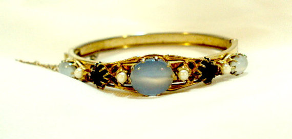 Moonstone Glass Rhinestone Faux Pearl Bangle by bitzofglitz4u, $48.00