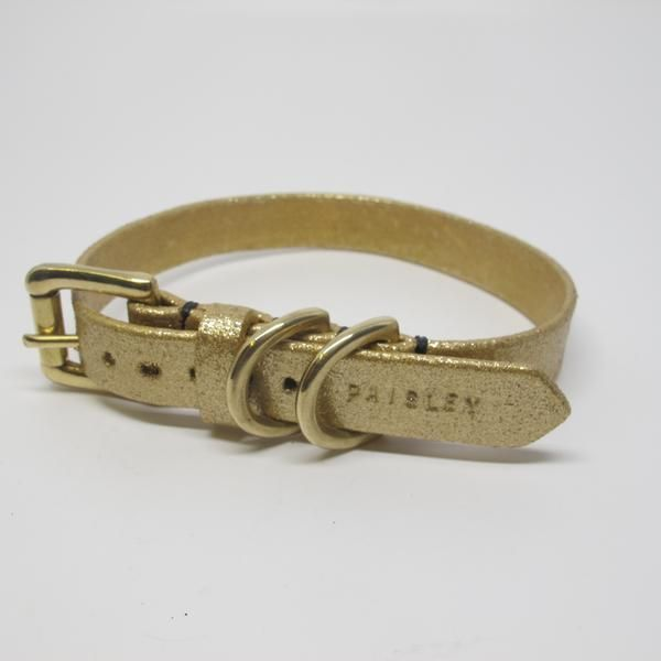Personalised Gold Glitter Leather Dog Collar With Double D Ring