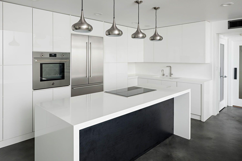 Sleek And Modern White Frameless Kitchen Custom Kitchen Cabinets Kitchen Custom Bathroom Vanity