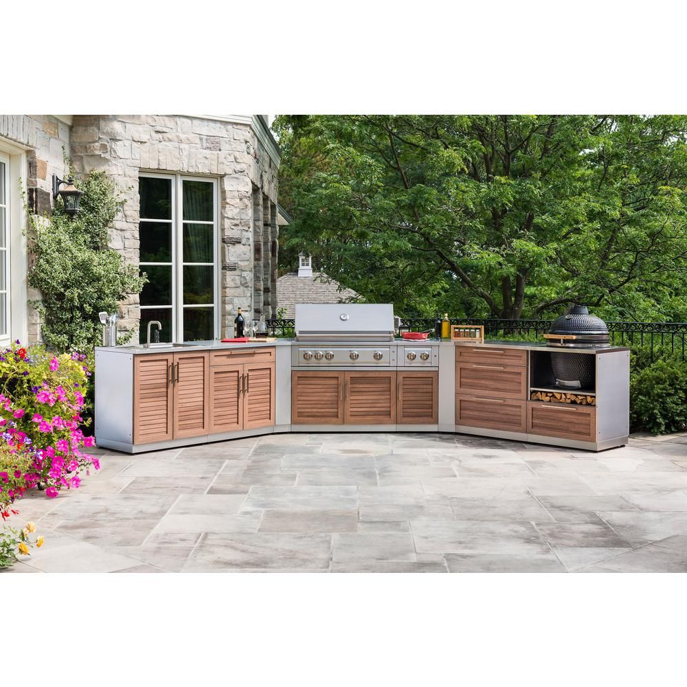 Newage Products Grove 4 Piece 128 In W X 36 5 In H X 24 In D Outdoor Kitchen Cabinet Set Without Countertops 65714 The Home Depot Outdoor Kitchen Cabinets Modular Outdoor Kitchens Kitchen Set Cabinet