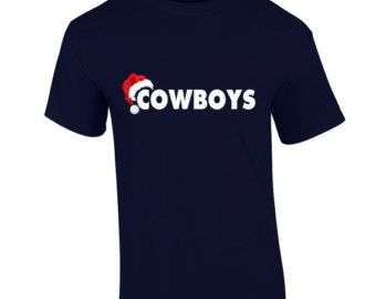 9dc8d029c DALLAS COWBOYS Christmas T-Shirt Santa Hat Christmas Holiday Fan Inspired  Team Tee