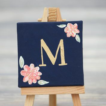 Mini canvas and easel navy with gold letter for Things to do with mini canvases