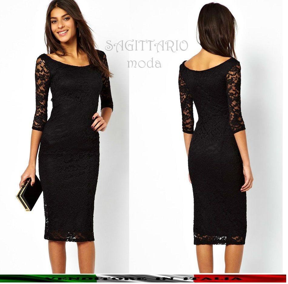 2804bf765328 Vestito matita tubino nero classico nero pizzo manica lunga elegante sera  abito