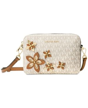 Michael Michael Kors Flowers Pouches Medium Camera Bag - White