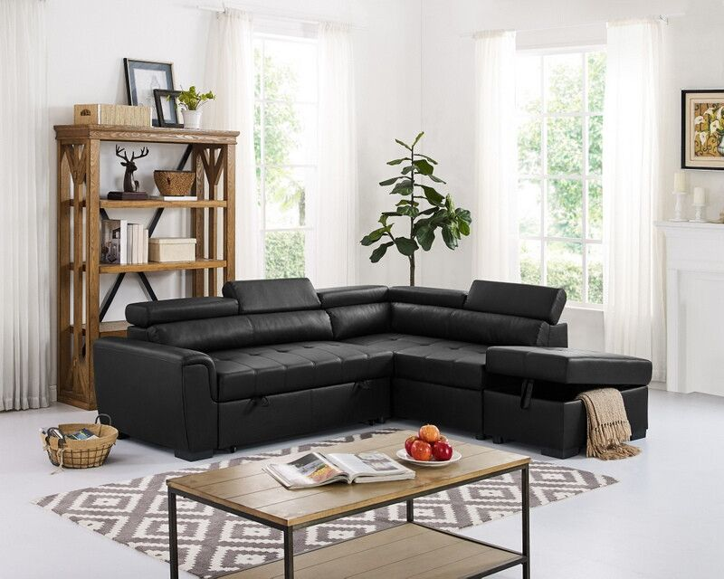 Oah D6170 3 Pc Latitude Run Menomonie Black Faux Leather Sectional Sofa Set With Pull Out Sleep Area Sectional Sleeper Sofa Faux Leather Sectional Sectional Sofa