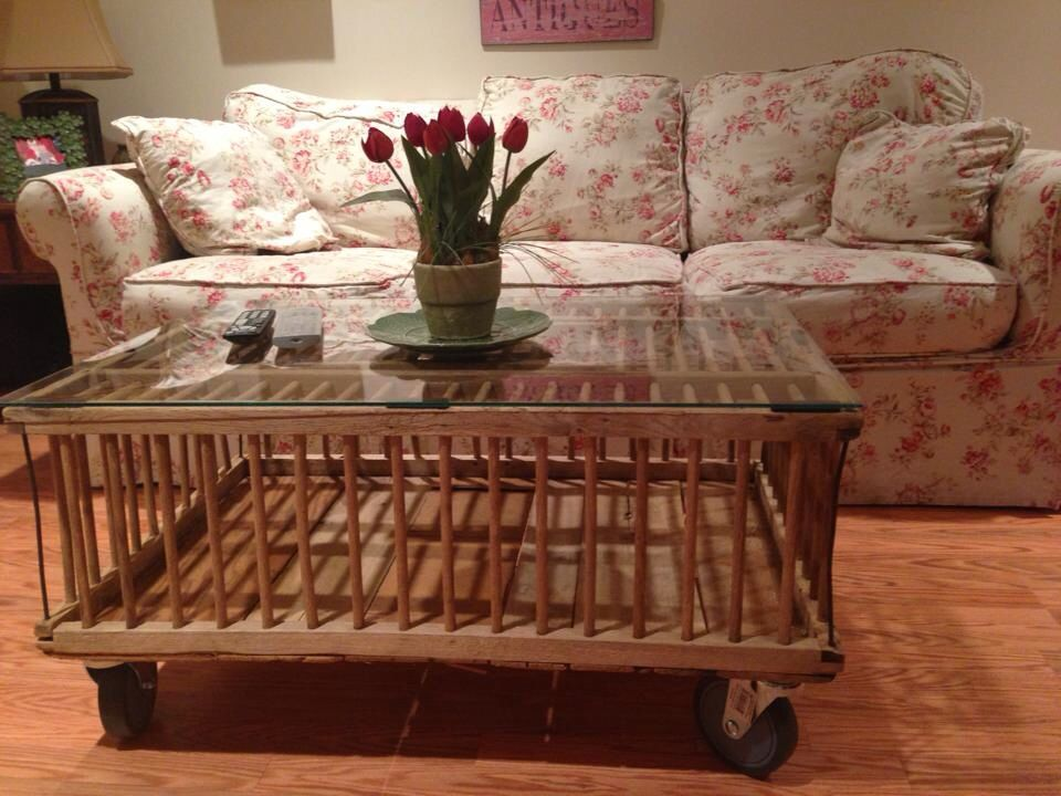 Coffee table I made from an old wooden chicken coop! | My