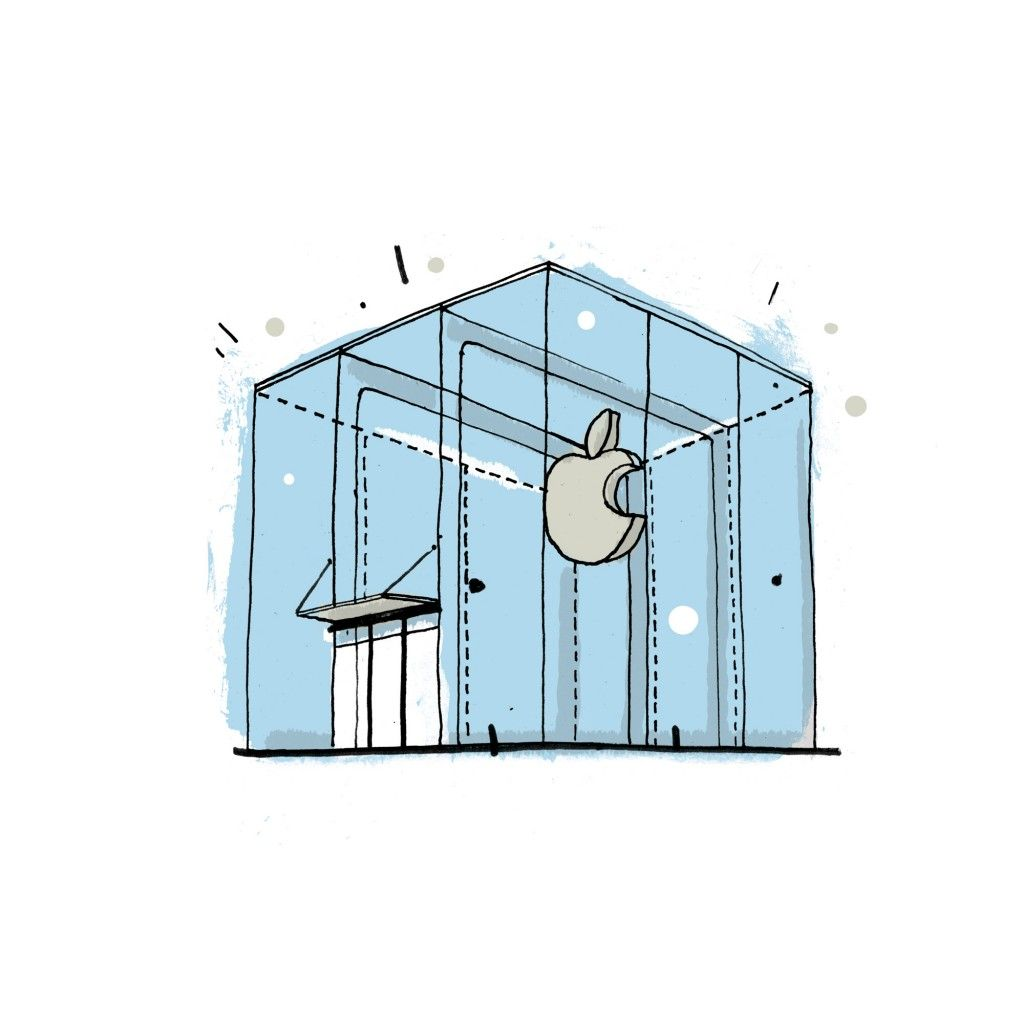 The Apple Store at 767 5th Avenue in New York City. Drawing by James ...