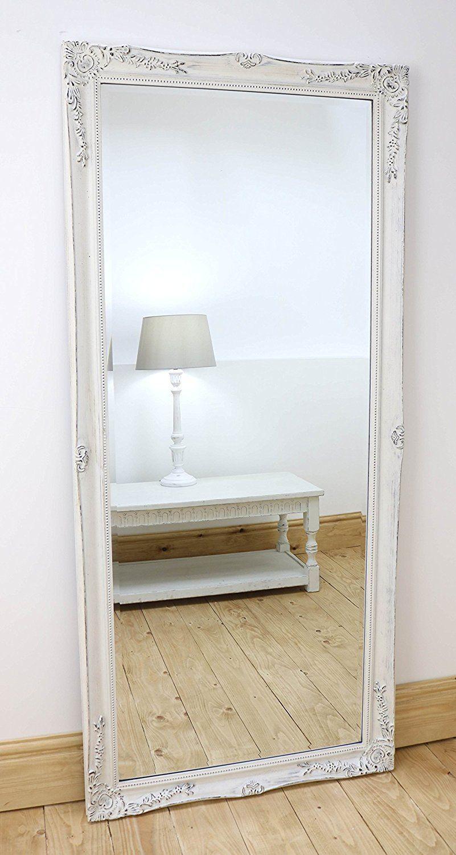 Isabella Vintage White \'Shabby Chic\' Full Length Antique Framed ...