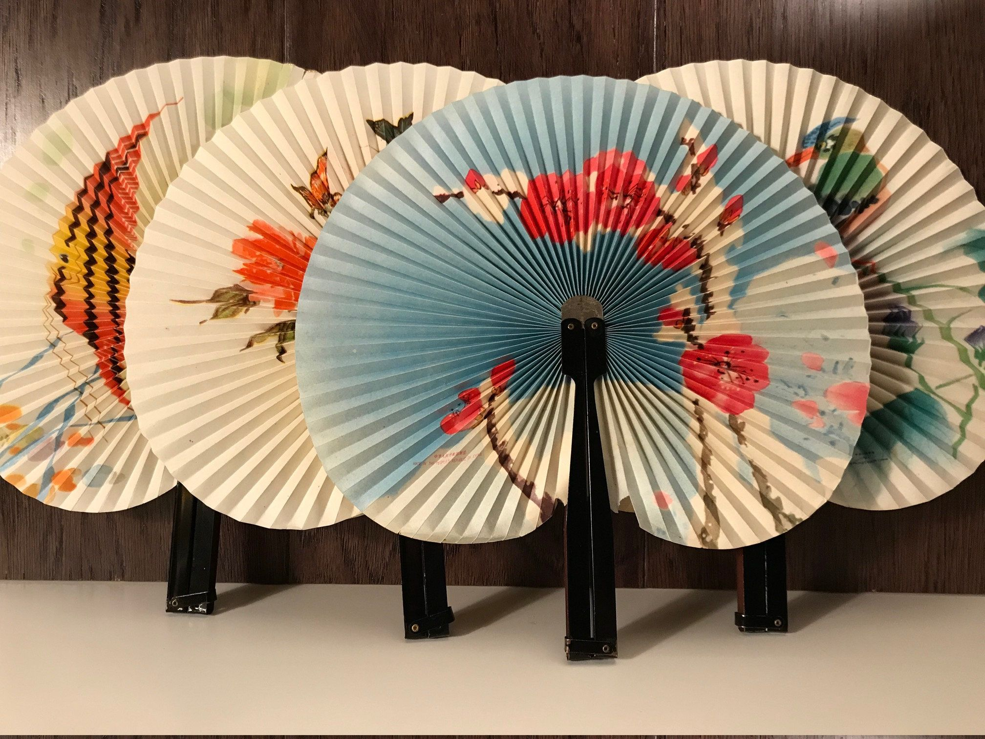 4 Asian Metal Folding Fans, Decorative Ornate Hand Held Paper Fans, Vintage Chinese Home Decor, Beautiful Far East Collectibles, Ships Free by ThePeppySquid on Etsy