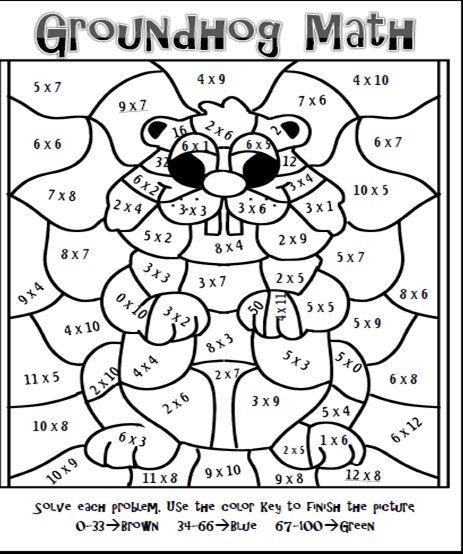 Blog Post With A Groundhog Freebie Math Coloring Multiplication Fun Math