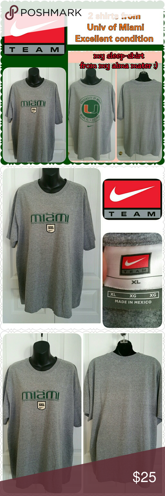 """2 NIKE Univ of Miami XL tees bundle, like new! Two NIKE tees, University of Miami  * Both size XL, unisex * Both gray * Both 23"""" across shoulders  * From my alma mater, like new! * Non-smoking home of Aurora33180 Nike Shirts Tees - Short Sleeve"""