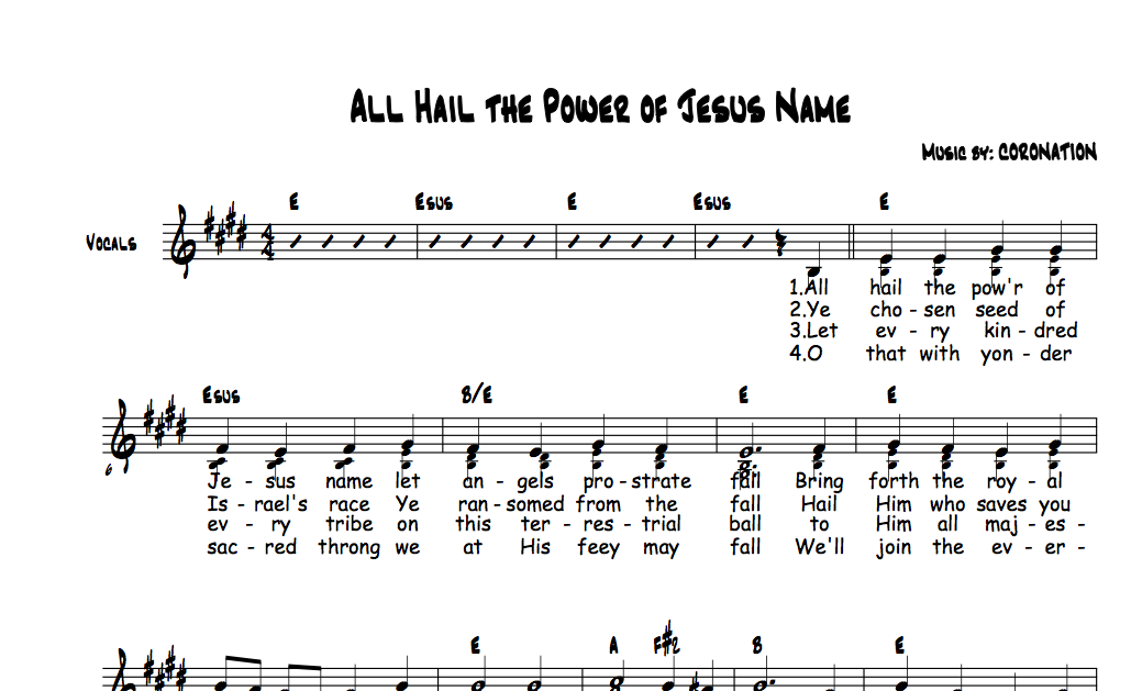 All Hail The Power Of Jesus Name Chords And Vocals Christian