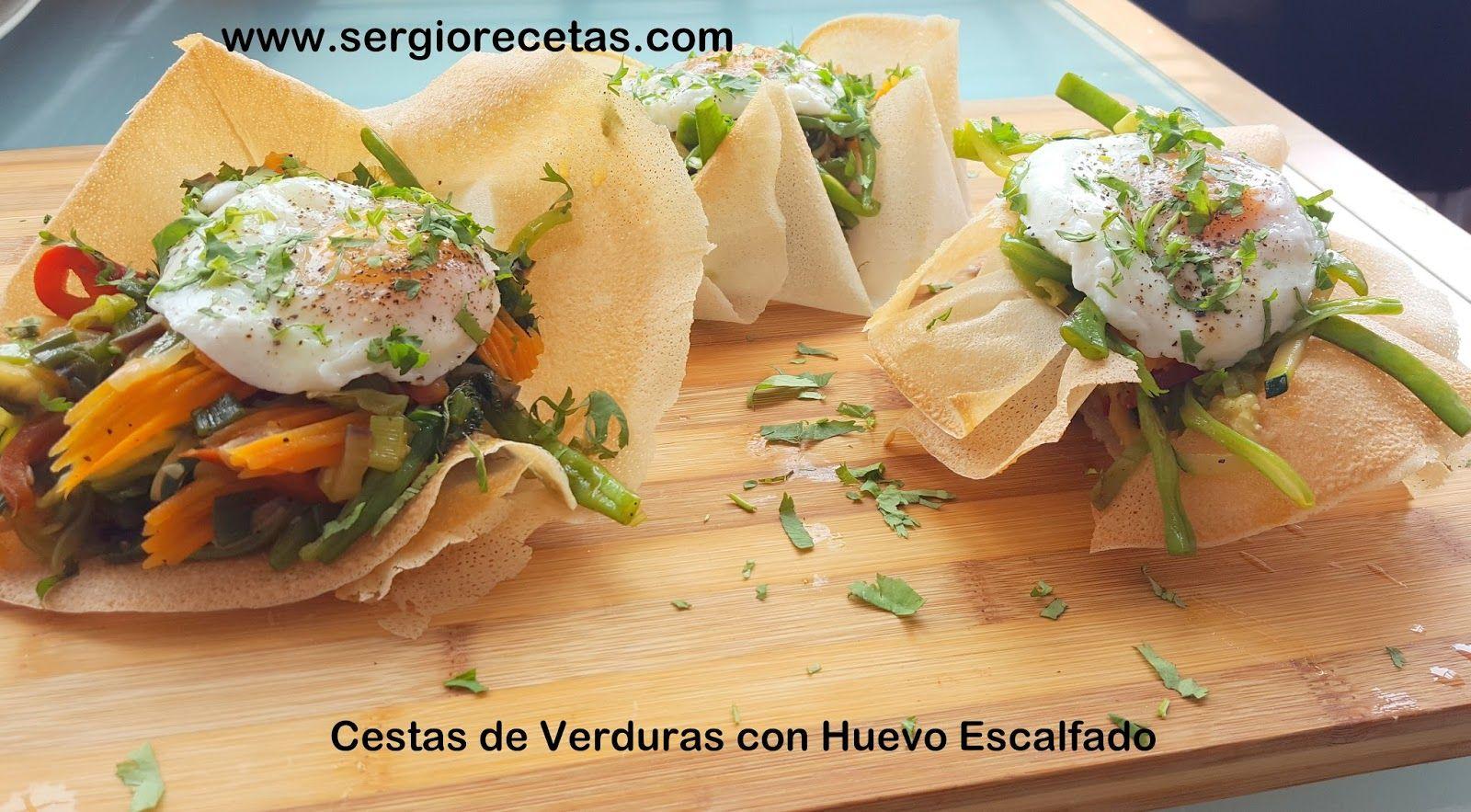 Sergio Benito Recetas: Cestas de Verduras Salteadas con Huevo Escalfado/Un Entrante Perfecto para una Dieta Equilibrada.