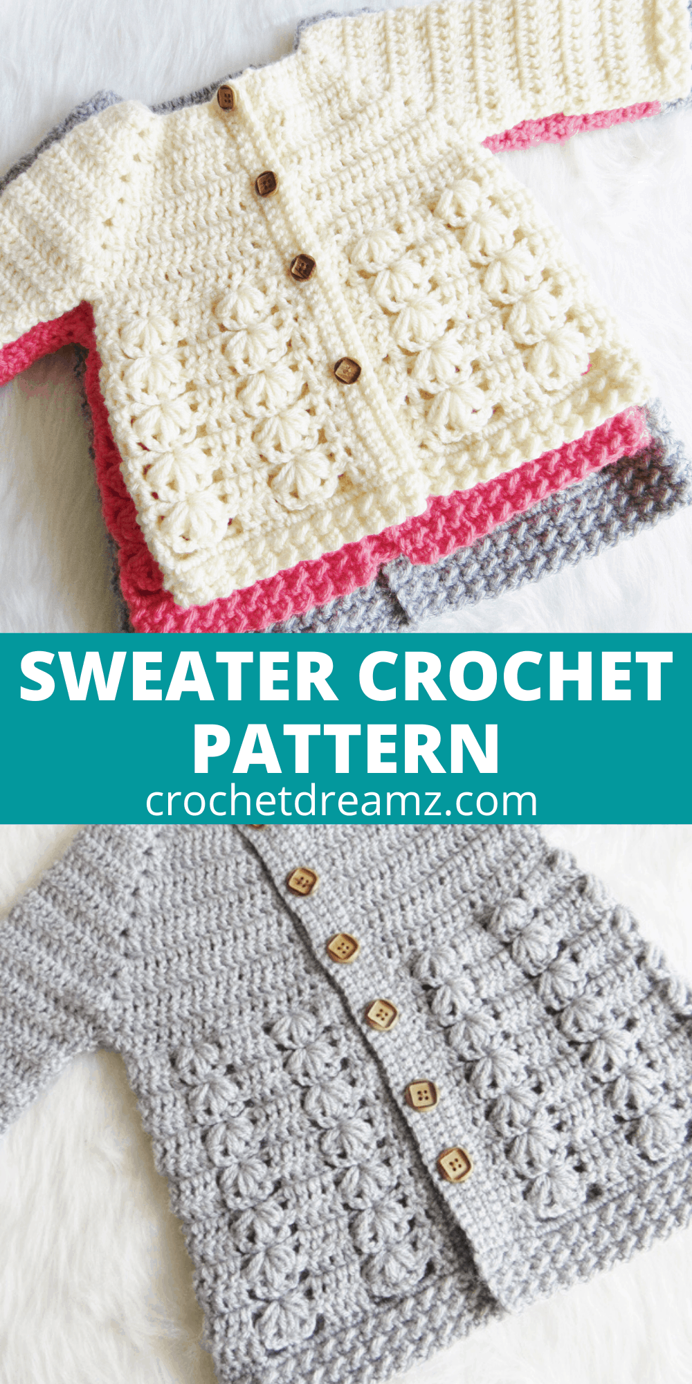 Textured Crochet Baby Sweater Pattern - Crochet Dreamz