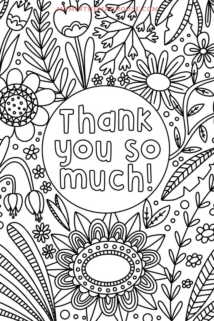 Thank You Colouring Pages Colouring Pages Color Thank You Cards