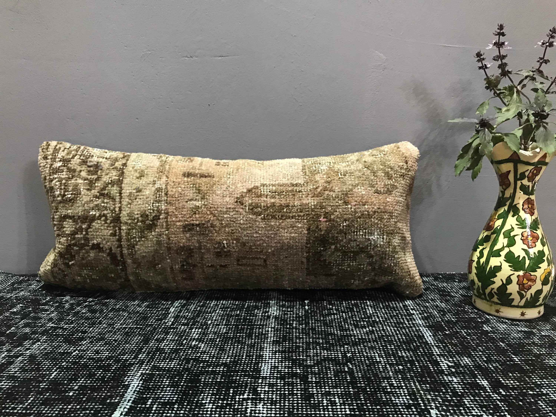 Carpet Pillow 8 x 20 inch Turkish Rug Pillow Cover Pink Pillow Long Pillow Cushion Boho Pillow Cover Decorative Carpet Pillow Cover #00037