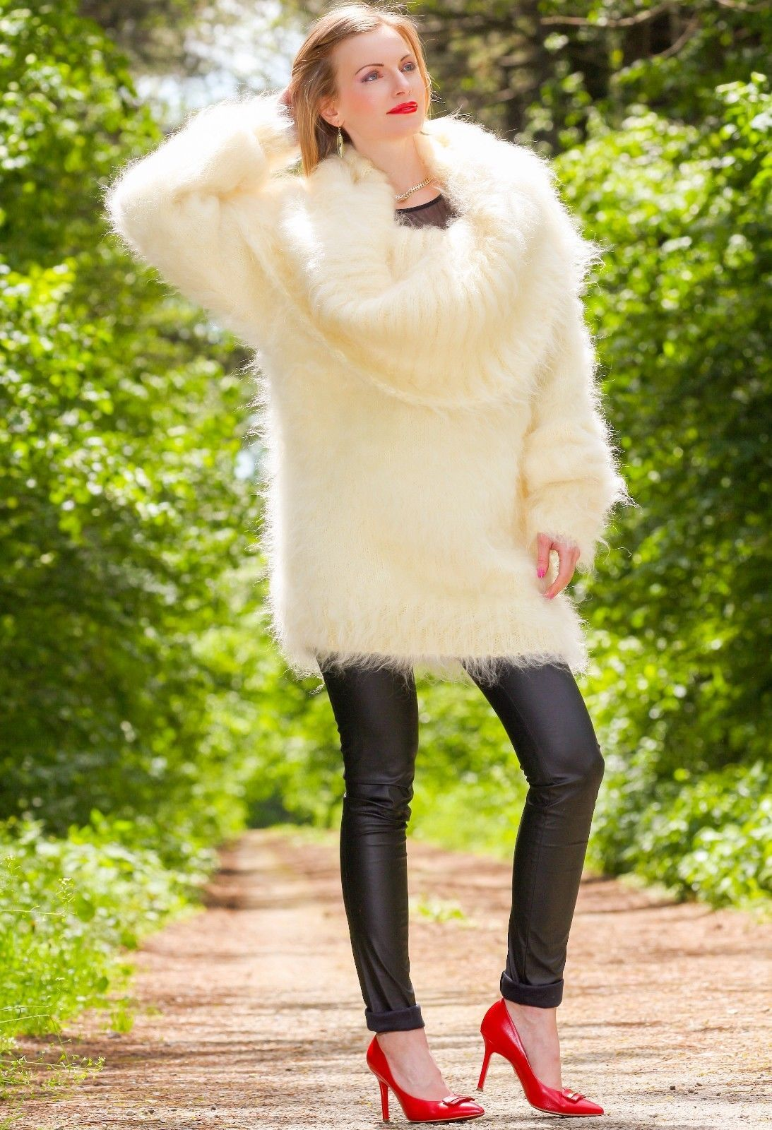 Hand knitted mohair sweater dress fuzzy cowlneck handmade ivory ...