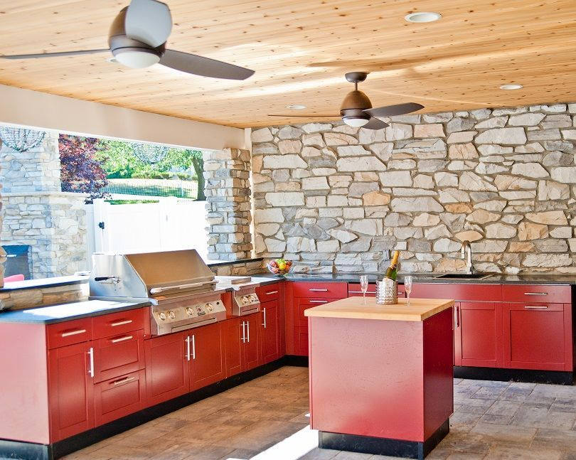 Redwood Powder Coat Finish With Key West Door Style Stands Out Against The Backdrop Of This Be Custom Kitchen Cabinets Store Kitchen Appliances Outdoor Kitchen