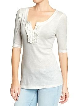 Women's Ruffle-Henley Tees | Old Navy - adorable with a cami underneath!!