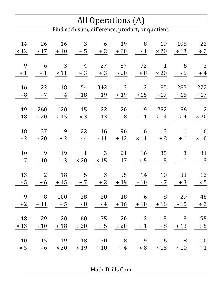All Operations with Facts From 1 to 20 A Math Worksheet – Addition Facts to 20 Worksheets