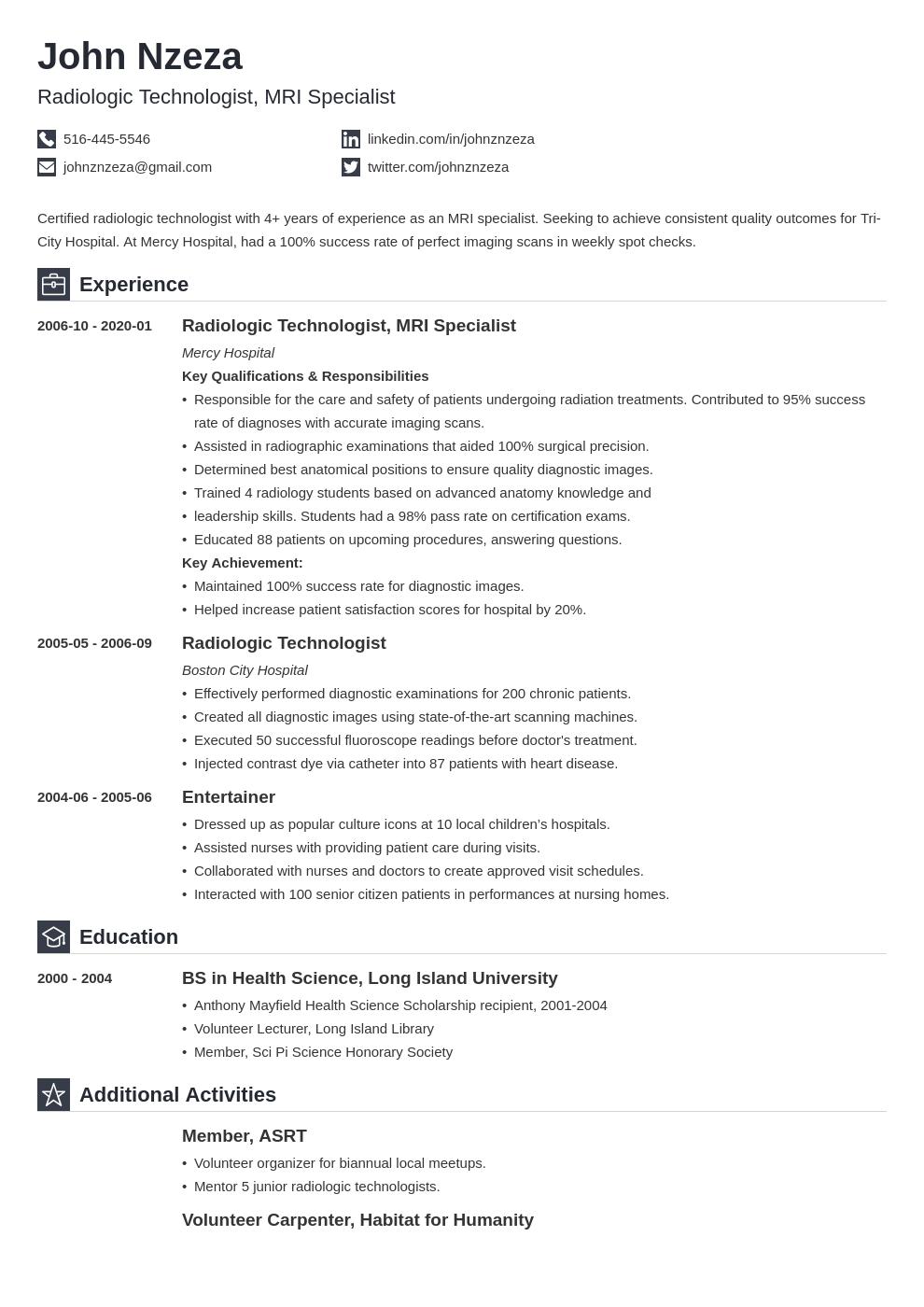 Radiologic Technologist Resume Example Template Iconic Radiology Technologist Resume Examples Job Resume Examples