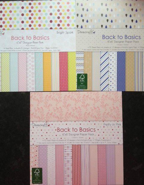 12 SHEET TASTER PACK DOVECRAFT BACK TO BASICS CARD MAKING CRAFT BACKING PAPER