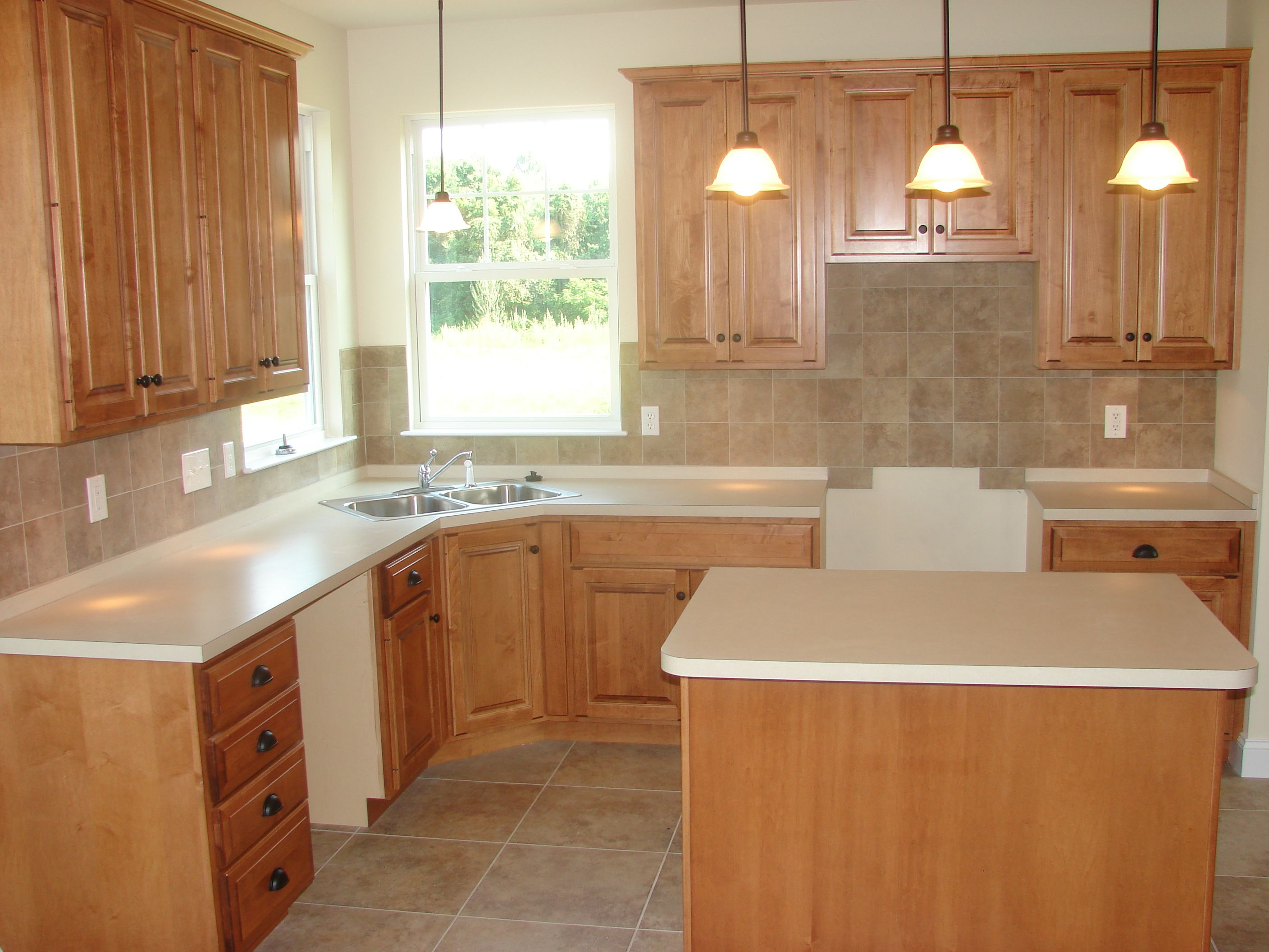 Maple wood cabinets formica counter tops tile floor and tile maple wood cabinets formica counter tops tile floor and tile back splash dailygadgetfo Choice Image
