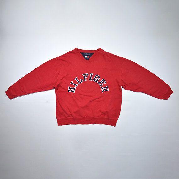 Rare Vintage 80s 90s Tommy Hilfiger Red Sweatshirt Retro Tommy