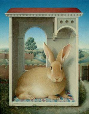 Koo Schadler. Egg Tempera paintings # Oye this is my wee home. # Bunny Rabbit residence