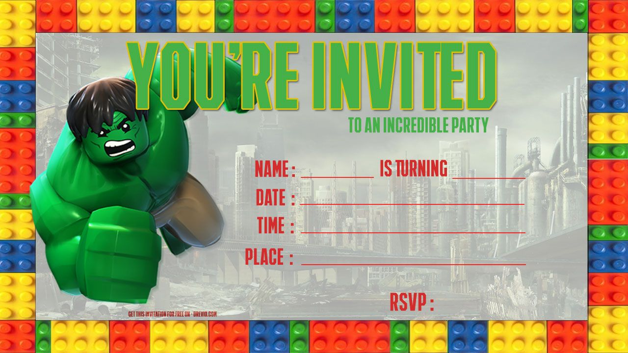 Nice Free LEGO Hulk Birthday Invitation Template