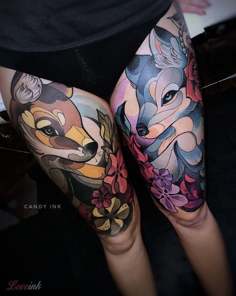 #fox #wolf #tattoo #flower #animal #girly #neo #traditonal #couple  Please, do not copy