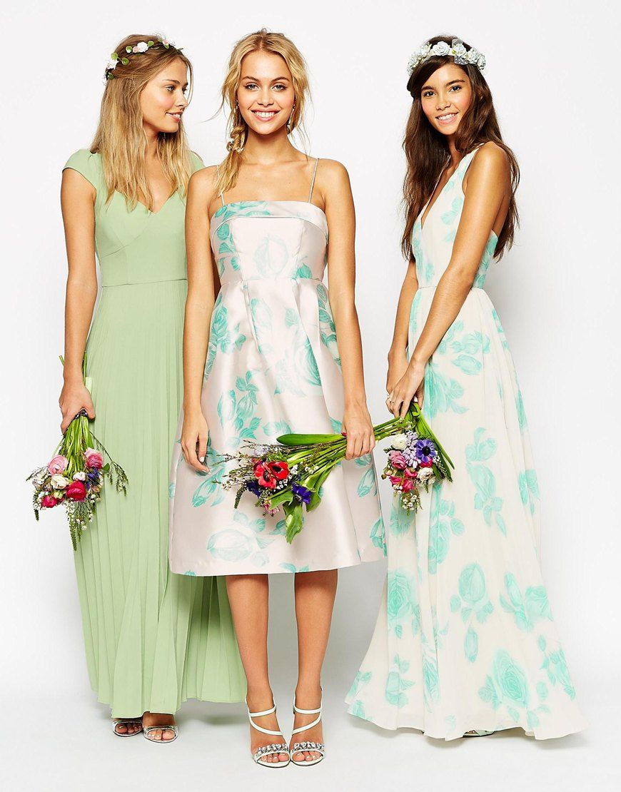 Image 4 of asos wedding structured prom dress with bow back in image 4 of asos wedding structured prom dress with bow back in mint rose print ombrellifo Images