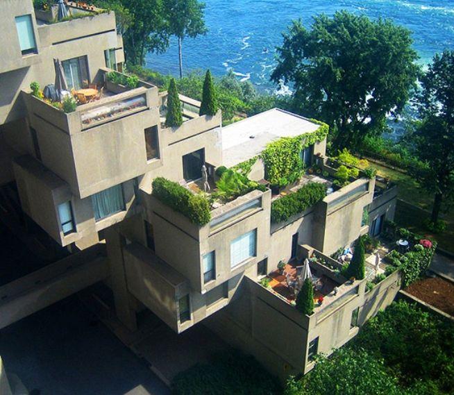 """No ano de 1967 aconteceu na cidade de Montreal a Expo 67, que tinha como tema """"O Homem e o seu Mundo"""". O Conjunto Habitat '67, do arquiteto Moshe Safdie (com base em projeto de sua tese de mestrado), além das casas, inclui um complexo de circulação. O Conjunto tornou-se tão cool e exclusivo que passou a ser caríssimo viver lá / entrevistas do arquiteto à CBC: http://www.cbc.ca/archives/ / modelos 3D: http://cac.mcgill.ca/safdie/habitat/safdielv1.htm"""