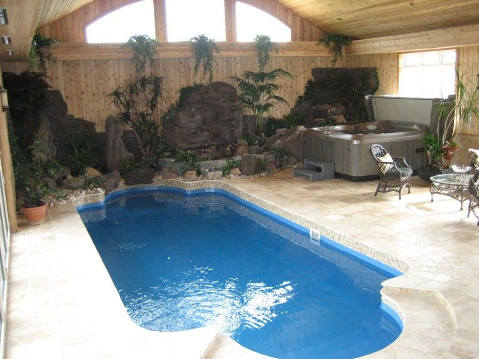 Stunning Small Residential Indoor Pool Design With Cream Concrete ...