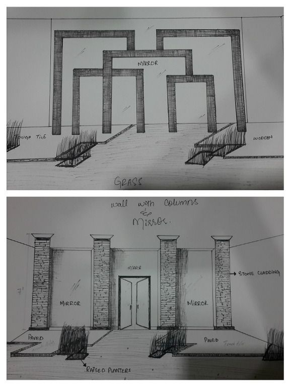 Latest Sketch Work For Home Interior Wall Design By Aaa Sketches
