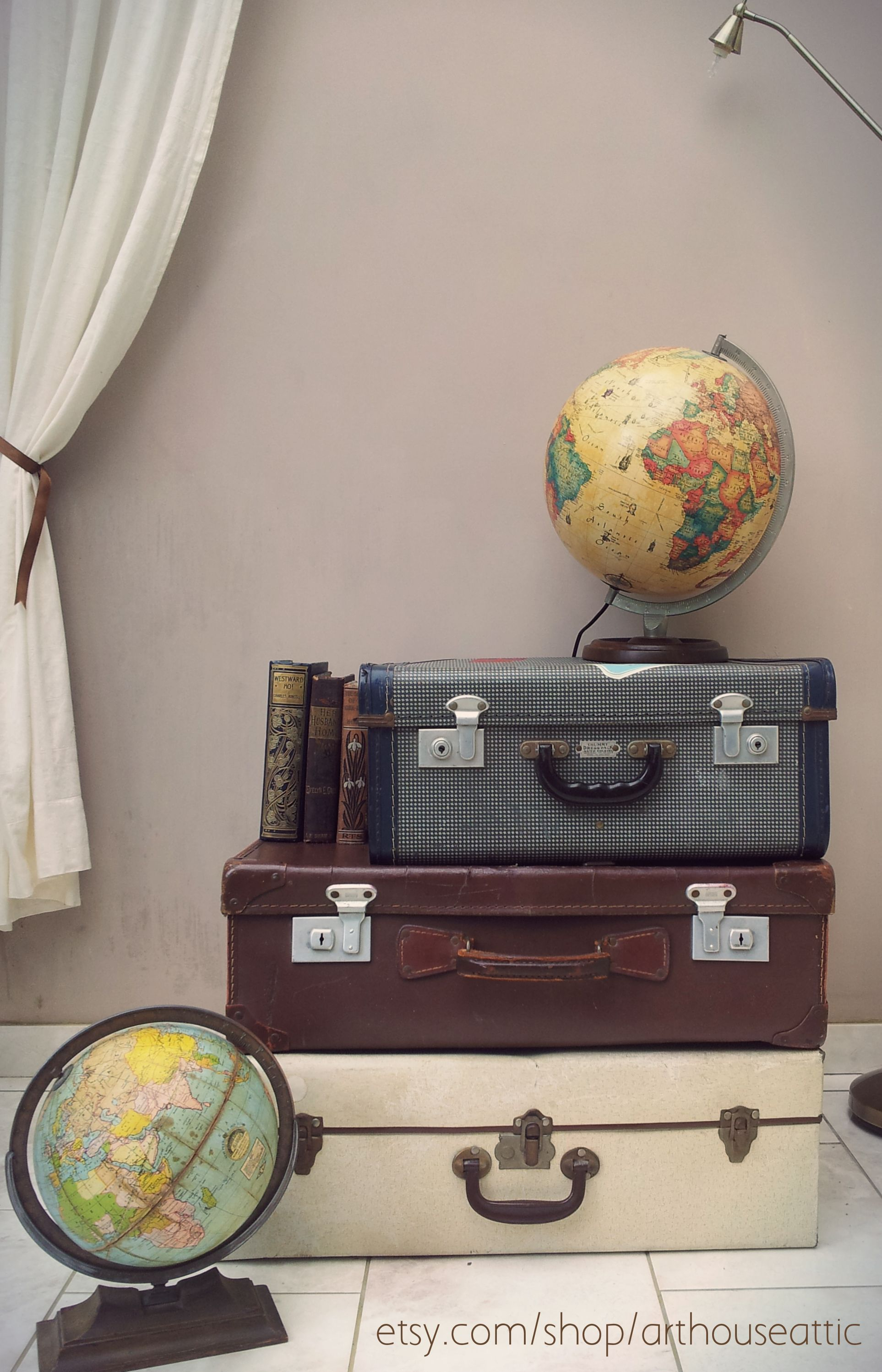 Vintage suitcases for stacking storage or side table £70.00 #vintage #storage #suitcases #vintagetrunks #vintageuk #forsale