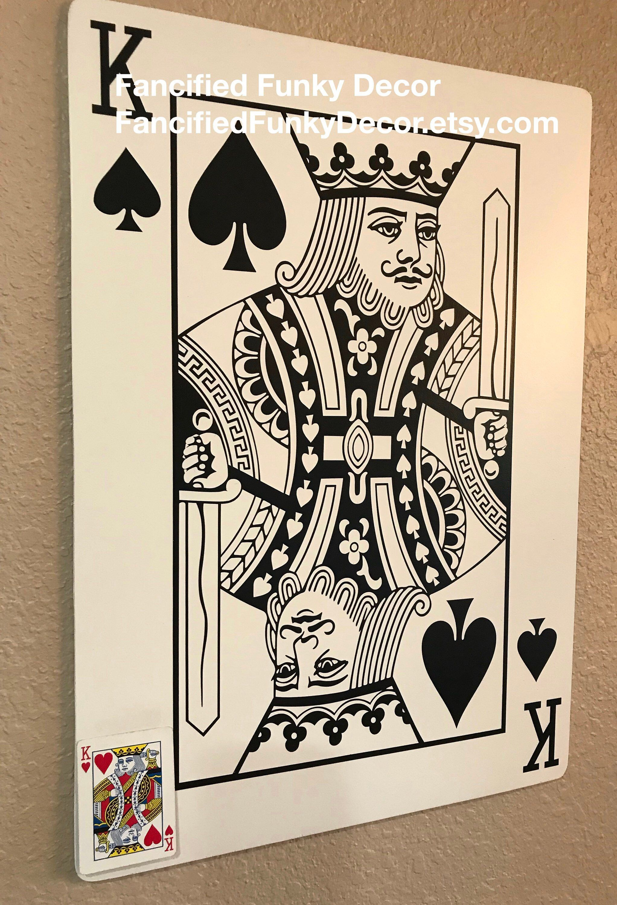 Face Card Large Playing Card Oversize Card Jack Queen King Jumbo Card Game Room Man Cave Poker Texas Hold Em Large Playing Cards Playing Cards Cards