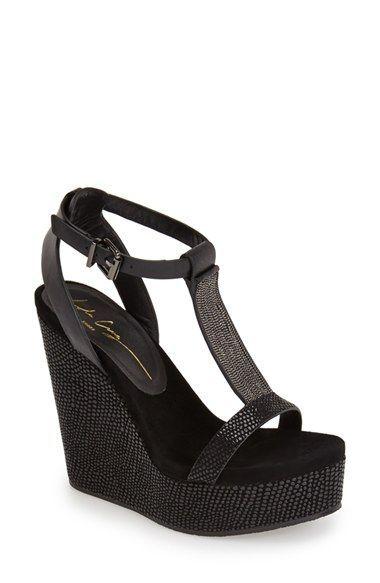 a36f462fcb36 Women s Lola Cruz Chain T-Strap Wedge Sandal