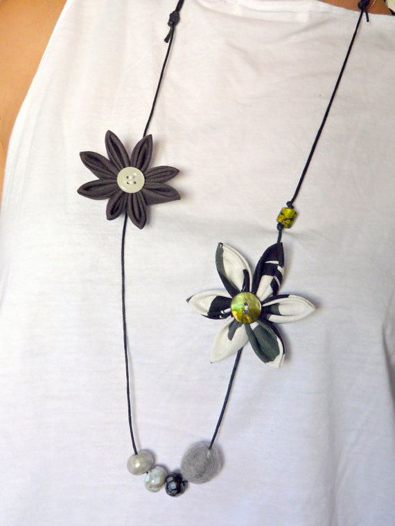 Asymmetrical lightweight grey kanzashi flower by ImwtheBand, €19.50